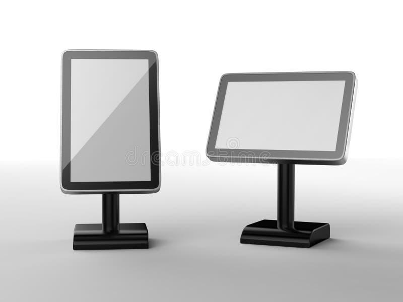 O quiosque acrílico do toque do tabletop do menu do Signage de 10 Digitas do suporte da tabela do LCD da polegada para o restaura ilustração do vetor