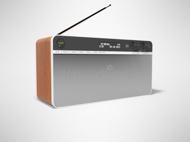 O rádio clássico com orador grande e as inserções de madeira 3d rendem a ilustração no fundo cinzento com sombra ilustração royalty free