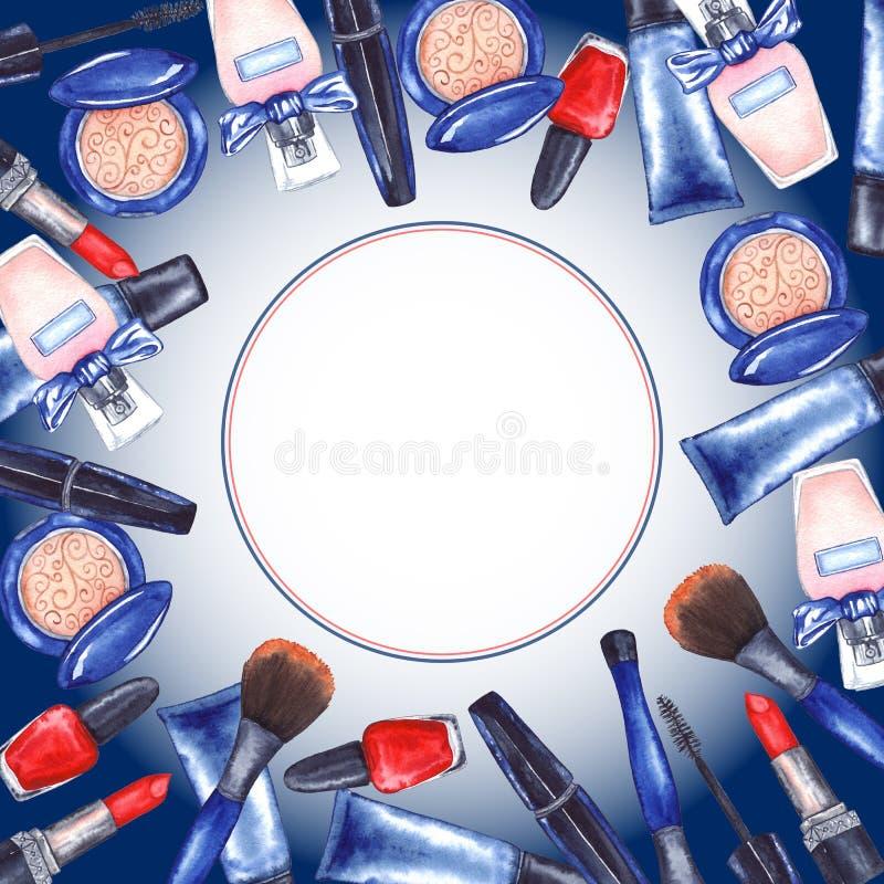 O rímel do ` s das mulheres da aquarela, tubo de creme, batom vermelho, cosméticos do tratamento de mãos do verniz para as unhas  ilustração stock