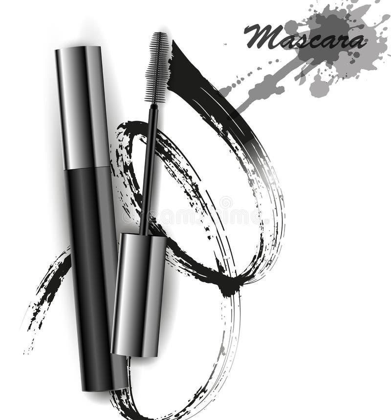O rímel e a escova afagam o vetor, a beleza e o fundo do cosmético Ilustração do vetor fotografia de stock