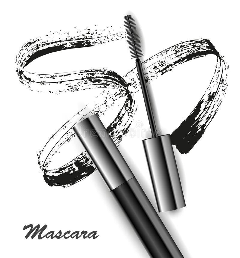 O rímel e a escova afagam o vetor, a beleza e o fundo do cosmético Ilustração do vetor foto de stock