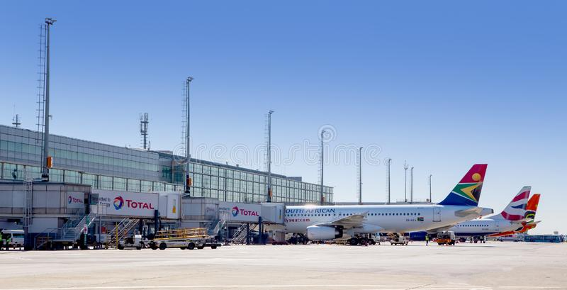 O R Tambo Airport in South Africa stock images