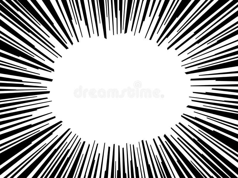 O radial abstrato da explosão do flash da banda desenhada alinha o fundo Ilustração do vetor para o projeto do super-herói Preto  ilustração royalty free
