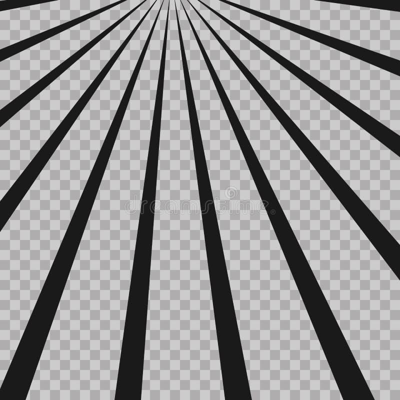O radial abstrato da explosão do flash da banda desenhada alinha o fundo Raios da ilusão Elemento retro do projeto do sunburstGru ilustração stock