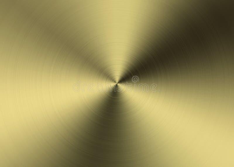 O radial dourado abstrato escovou a superfície de metal para o fundo ilustração stock