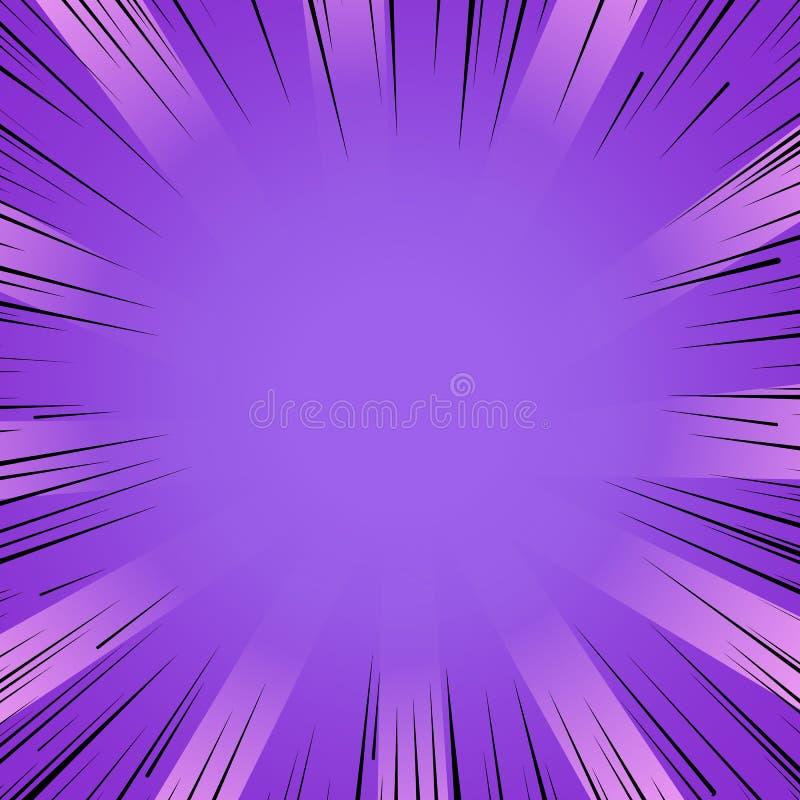 O radial roxo da explosão do flash da banda desenhada de Manga alinha o fundo ilustração do vetor