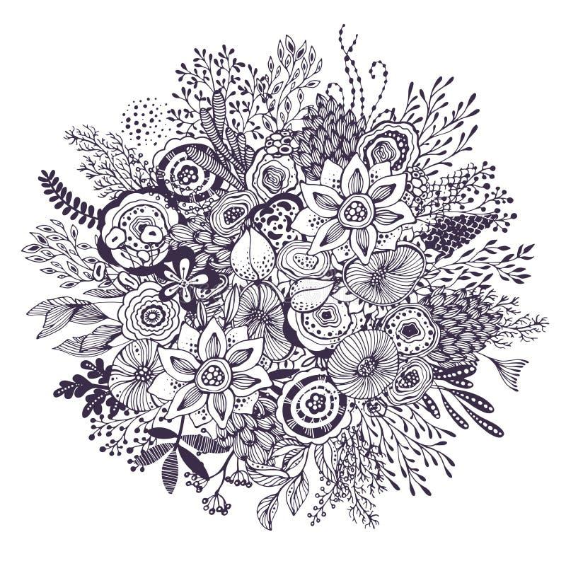 O ramalhete bonito da fantasia com a mão tirada floresce, plantas, ramos ilustração royalty free
