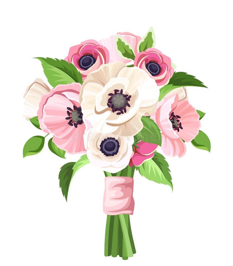O ramalhete de papoilas cor-de-rosa e brancas e de anêmona floresce Ilustração do vetor ilustração stock
