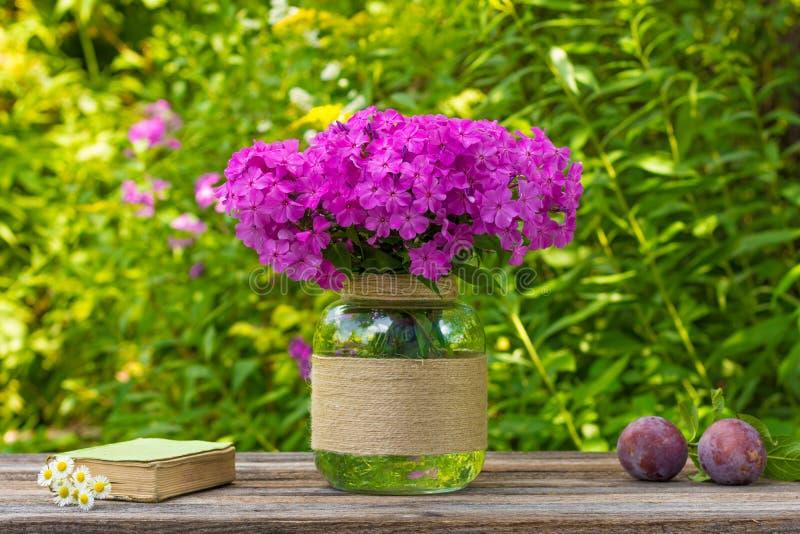O ramalhete do flox floresce em um vaso de vidro, em umas ameixas maduras e em um livro velho com as margaridas na tabela no fund foto de stock