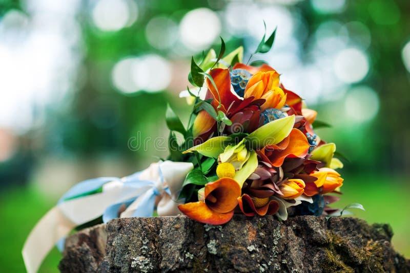 O ramalhete do ` s da noiva encontra-se na natureza em um fundo verde fotos de stock