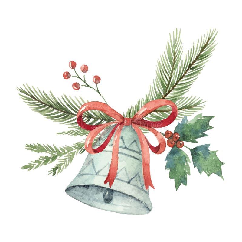 O ramalhete do vetor do Natal da aquarela com sino e abeto ramifica ilustração royalty free