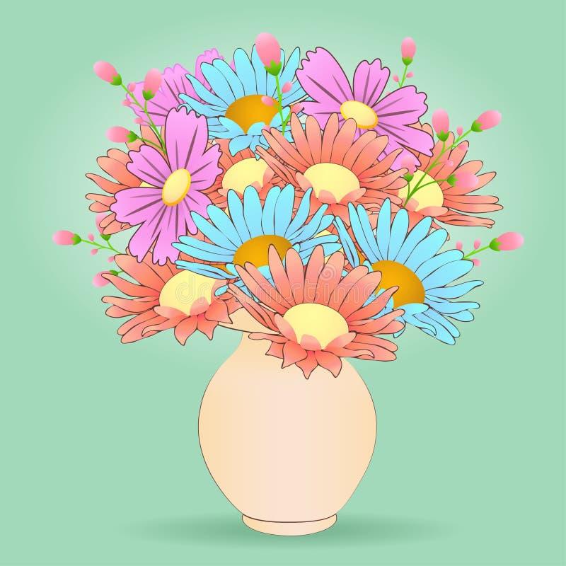 O Ramalhete Dos Desenhos Animados Floresce No Vaso Vetor