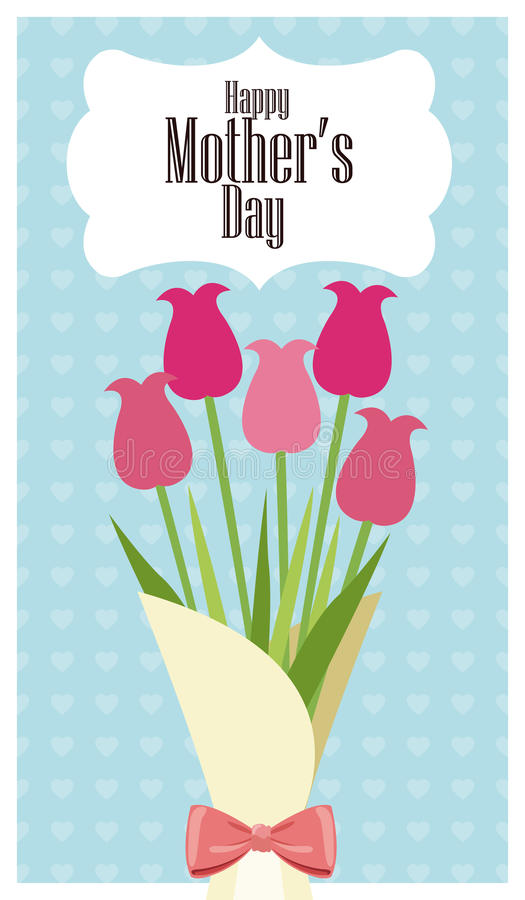 o ramalhete feliz do cartão do dia de mães floresce - o fundo dos pontos ilustração royalty free