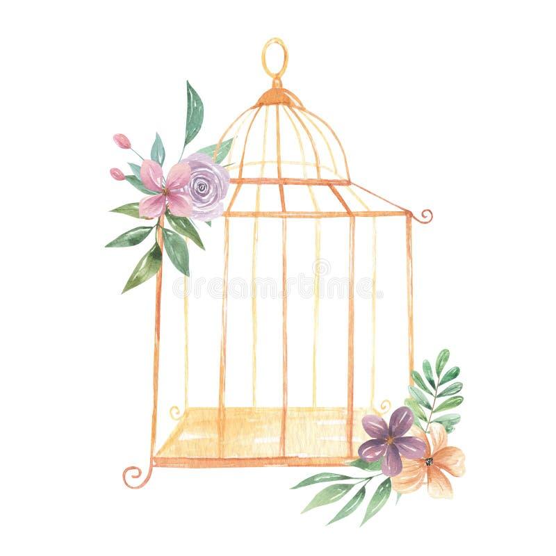 O ramalhete real do Birdcage da aquarela floresce bagas florais das flores das rosas roxas ilustração stock