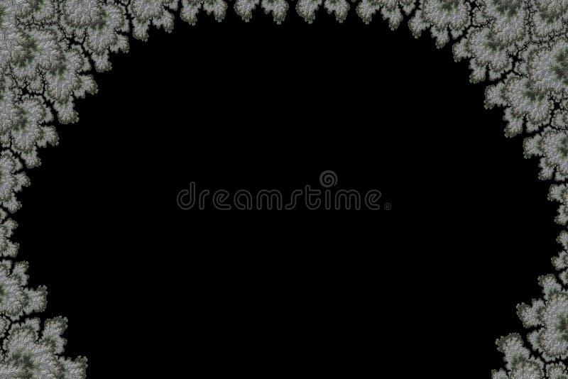 O ramo coberto de neve abstrato moldou o espaço preto da cópia ilustração royalty free