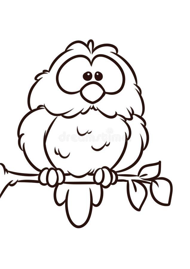 O ramo de árvore do pássaro da coruja senta a página animal da coloração dos desenhos animados do caráter ilustração royalty free