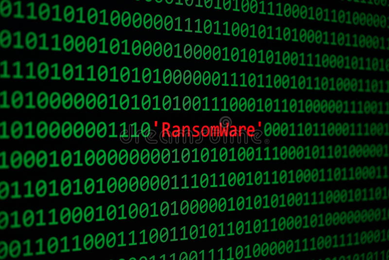 O RansomWare e o atta da segurança e do Malware do conceito do código binário fotografia de stock royalty free