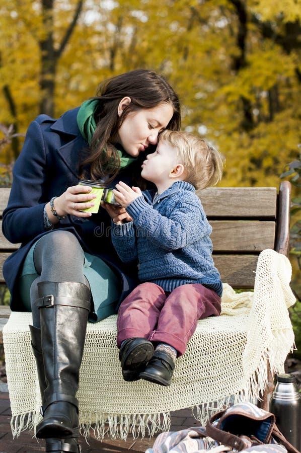 O rapaz pequeno adorável alcança para seu beijo do ` s da mãe imagem de stock
