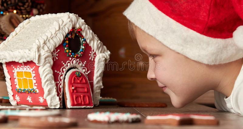 O rapaz pequeno bonito em um chapéu do Natal olha um gingerbr bonito imagem de stock royalty free