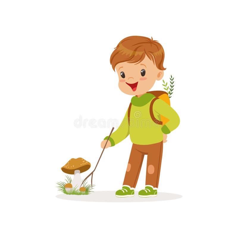 O rapaz pequeno bonito na roupa morna que recolhe cogumelos, criança bonita que aprecia a queda, outono caçoa o vetor da atividad ilustração do vetor