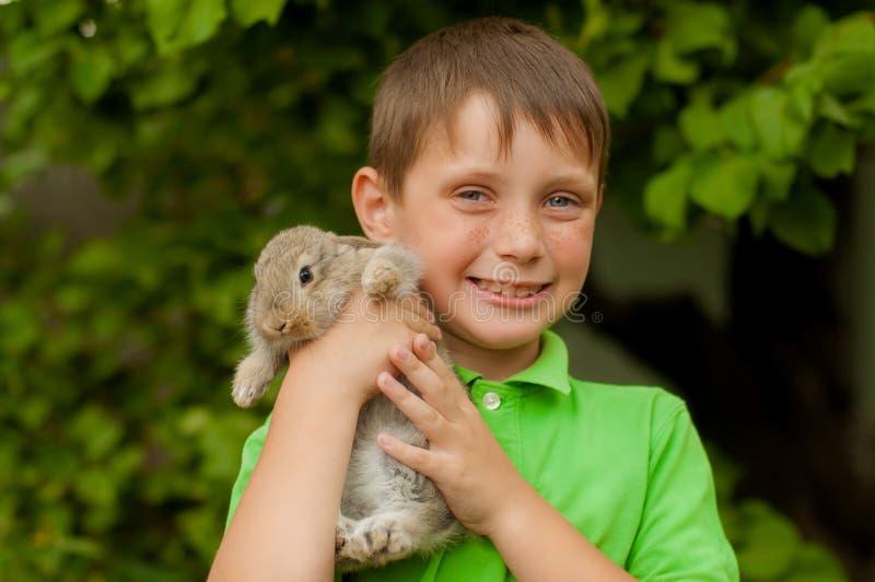 O rapaz pequeno com um coelho nas mãos fotografia de stock royalty free