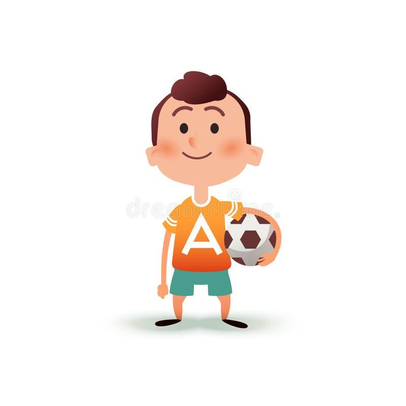 O rapaz pequeno dos desenhos animados guarda a bola em sua mão Um homem novo está indo jogar o futebol Criança com uma bola de fu ilustração do vetor