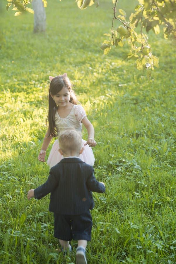 O rapaz pequeno e a menina jogam na grama verde, energia foto de stock
