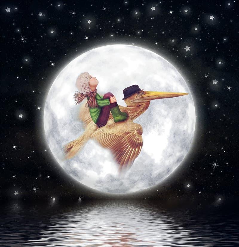 O rapaz pequeno e o pelicano marrom voam contra a Lua cheia no céu noturno ilustração do vetor