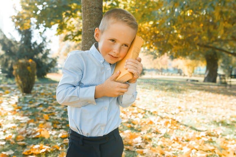 O rapaz pequeno escuta um livro audio com sua orelha unida, uma imagem abstrata de um livro audio Parque ensolarado do outono do  fotos de stock