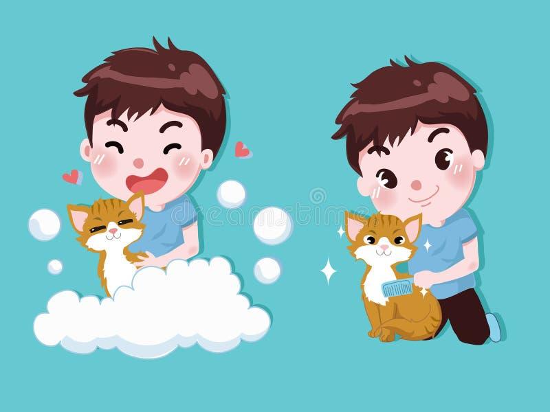 O rapaz pequeno está banhando-se com gatos bonitos ilustração do vetor