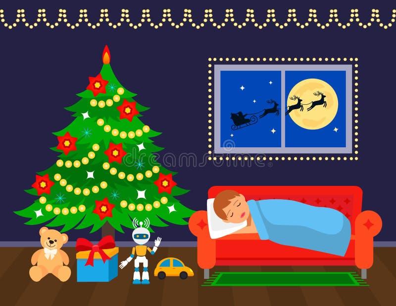 O rapaz pequeno está dormindo perto da árvore de Natal e está esperando presentes ilustração stock