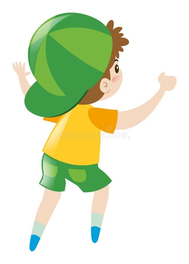 O rapaz pequeno na camisa amarela gerencie para trás ilustração royalty free