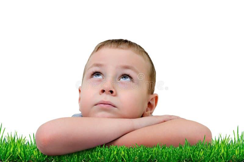 O rapaz pequeno pôs sua cabeça em suas mãos e olhou acima imagem de stock