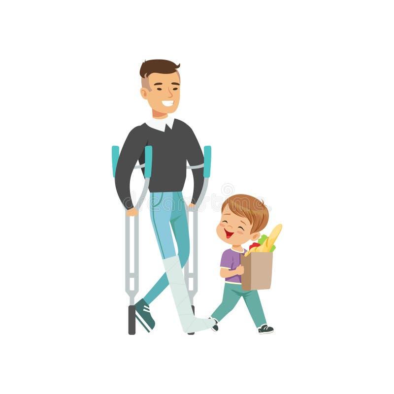 O rapaz pequeno que ajuda o homem deficiente leva o saco de compras, ilustração do vetor do conceito das boas maneiras das crianç ilustração stock