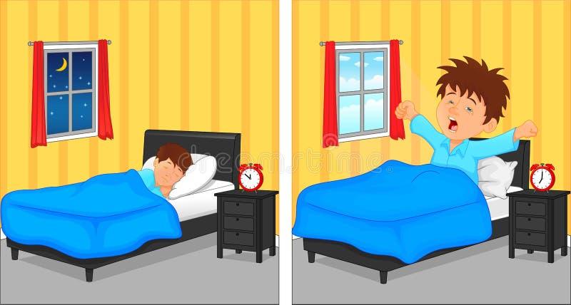 O rapaz pequeno que dormem no quarto na noite e acordam na manhã ilustração stock