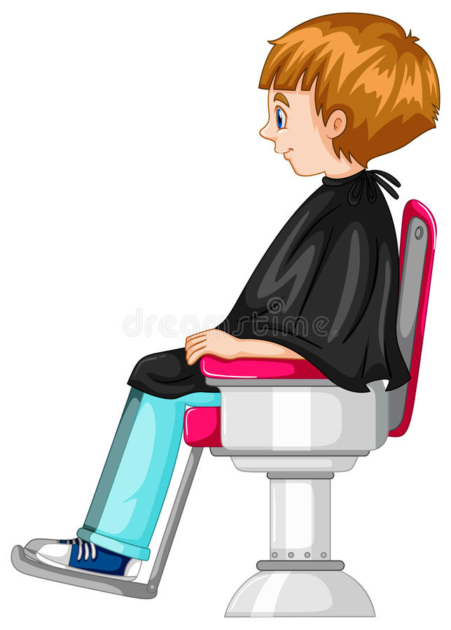 O rapaz pequeno senta-se na cadeira de barbeiro ilustração royalty free
