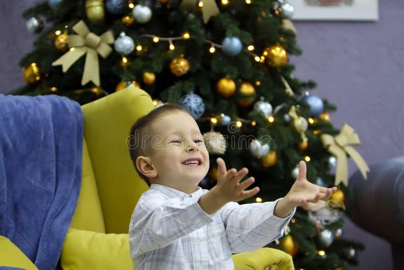 O rapaz pequeno tem o divertimento no fundo da árvore de Natal fotografia de stock