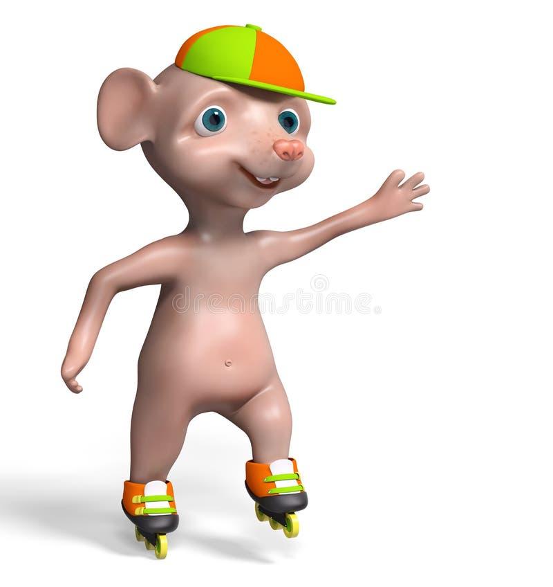 O rato 3d isolado menino da patinagem de rolo rende ilustração stock