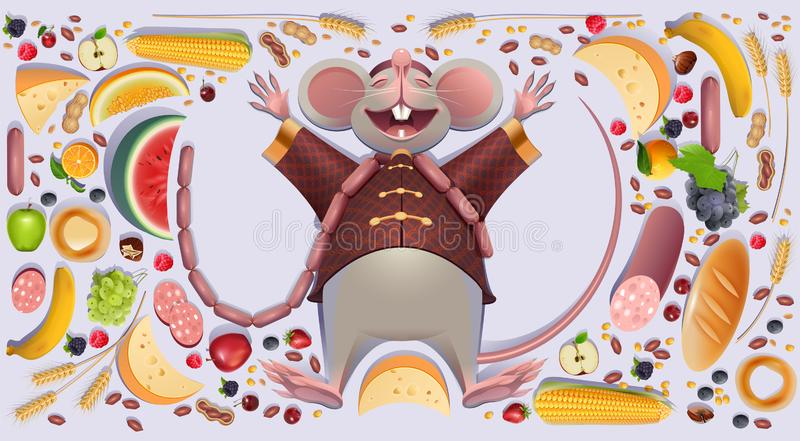 O rato gordo do rato é patas de espalhamento do resto 2020 na abundância rica da riqueza do símbolo chinês do calendário ilustração stock