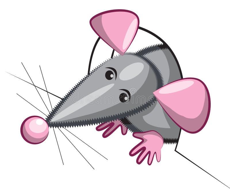 O rato olha fora do furo ilustração royalty free