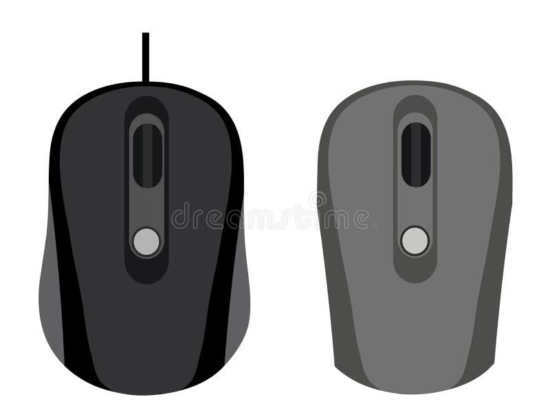 O rato prendido e sem fio no fundo branco ilustração do vetor