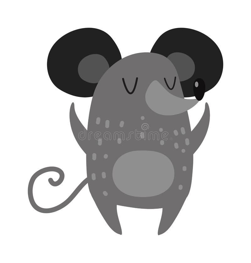 O rato tirado de sorriso dos desenhos animados mão cinzenta arma o vetor bonito estendido do rato ilustração stock