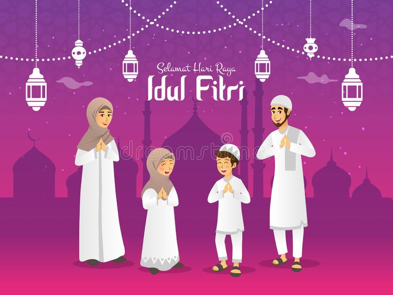O raya Idul Fitri do hari de Selamat ? uma outra l?ngua do eid feliz Mubarak no indon?sio Fam?lia mu?ulmana dos desenhos animados fotografia de stock