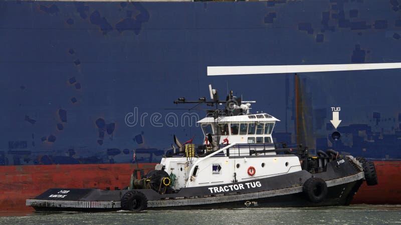 O rebocador Z-FOUR que ajuda a LYRA da CGM de CMA do navio de carga manobra foto de stock royalty free