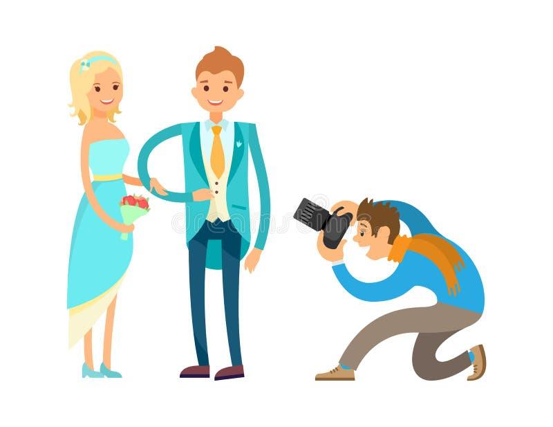 O recém-casado da cerimônia do acoplamento acopla-se, fotógrafo ilustração stock