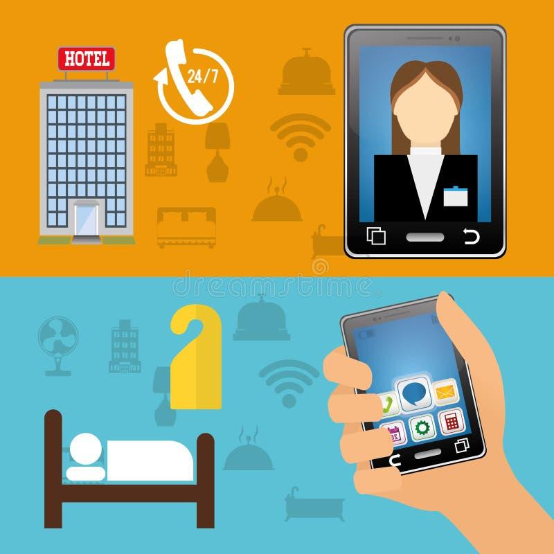 O recepcionista e o hotel de Smartphone com apps digitais projetam ilustração do vetor