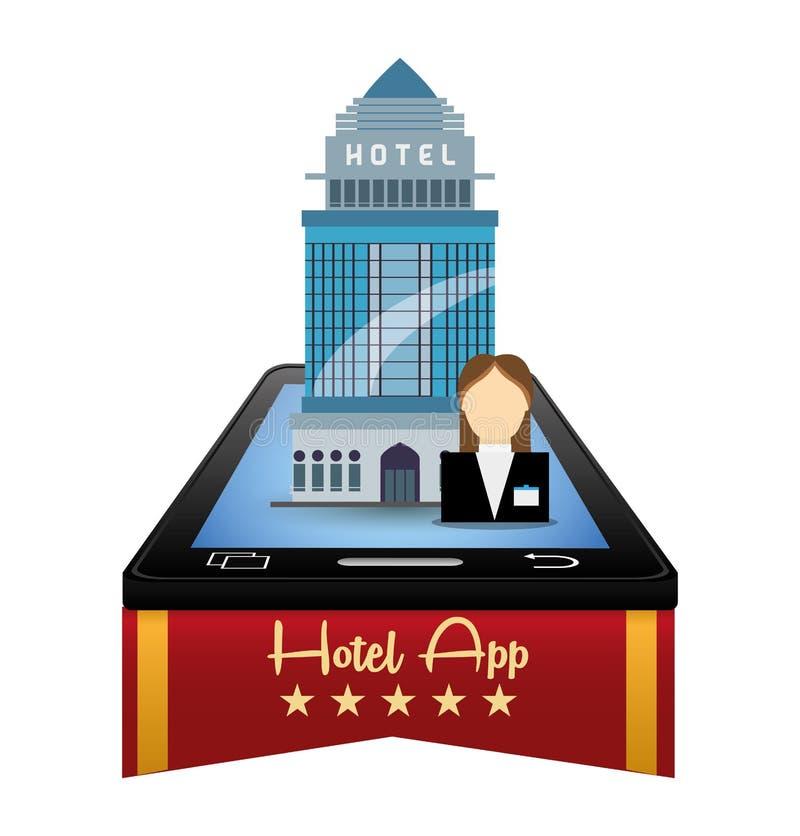 O recepcionista e o hotel de Smartphone com apps digitais projetam ilustração royalty free