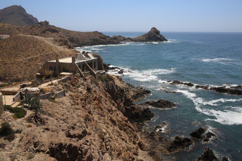 O recife das sirenes no Cabo de Gata fotos de stock royalty free