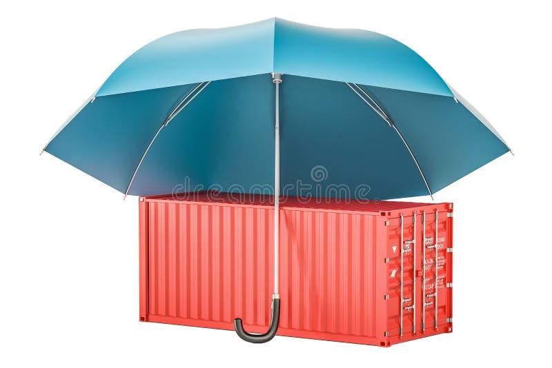 O recipiente de carga sob o guarda-chuva, seguro e protege a entrega c ilustração royalty free