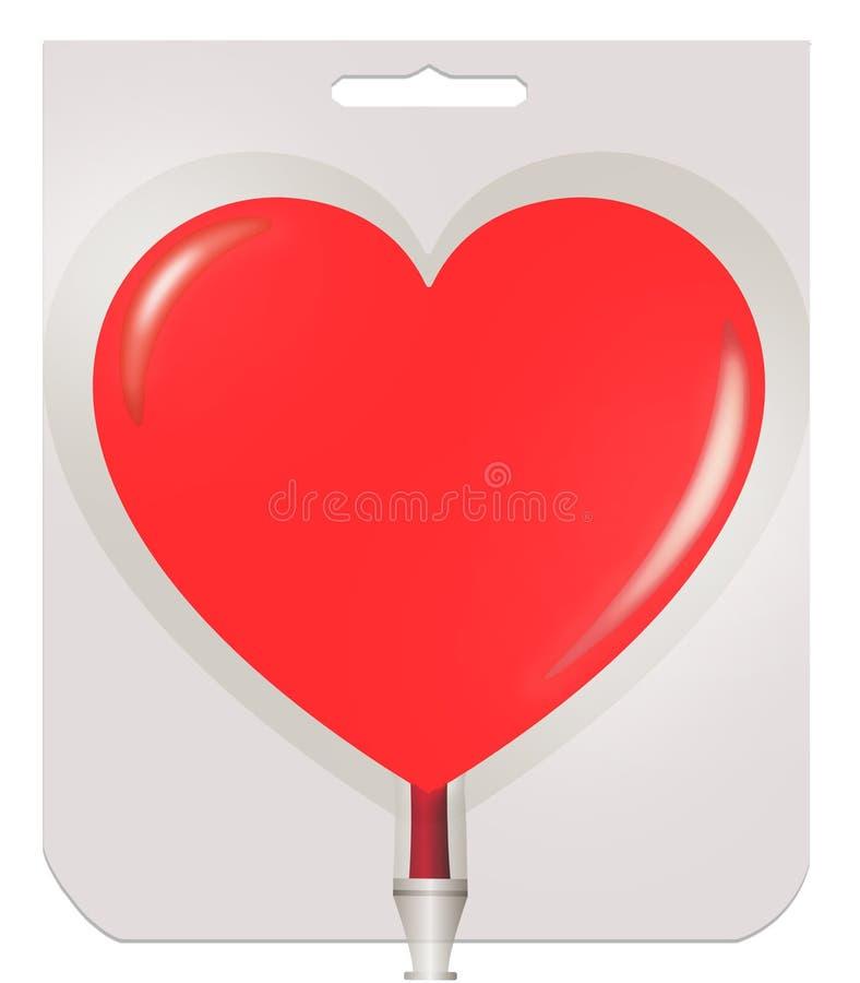 O recipiente plástico para o sangue na forma do coração ilustração do vetor